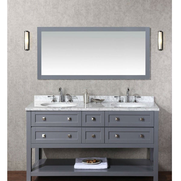 "Stufurhome 60"" Marla Gray Double Sink Vanity Set with Mirror - HD-6868G-60-CR - Bath Vanity Plus"