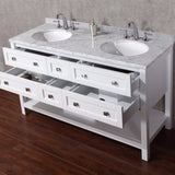 "Stufurhome 60"" Marla White Double Sink Vanity Set with Mirror - HD-6868-60-CR - Bath Vanity Plus"