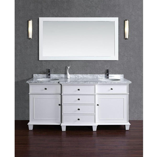 "Stufurhome 72"" Cadence White Double Sink Bathroom Vanity with Mirror - HD-7000W-72-CR - Bath Vanity Plus"
