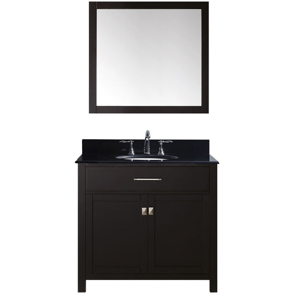 "Virtu USA Caroline 36"" Espresso Single Bathroom Vanity Set with Granite Top - MS-2036-BG - Bath Vanity Plus"