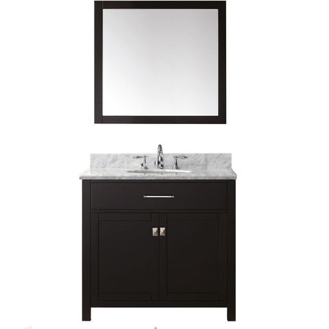 "Virtu USA Caroline 36"" Espresso Single Bathroom Vanity Set with Marble Top - MS-2036-WM - Bath Vanity Plus"