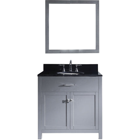 "Virtu USA Caroline 36"" Gray Single Bathroom Vanity Set with Granite Top - MS-2036-BG - Bath Vanity Plus"