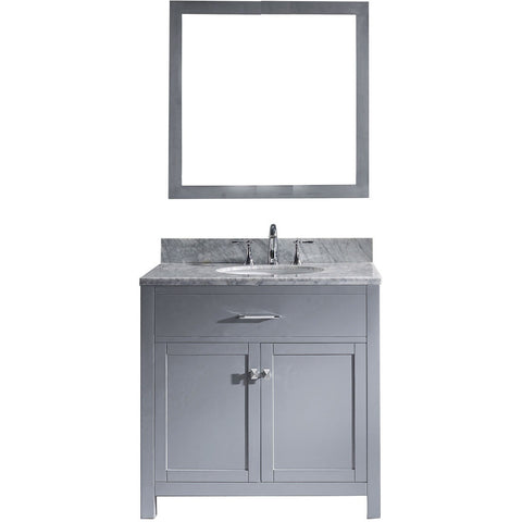 "Virtu USA Caroline 36"" Gray Single Bathroom Vanity Set with Marble Top - MS-2036-WM - Bath Vanity Plus"