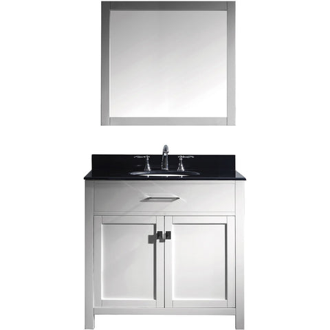 "Virtu USA Caroline 36"" White Single Bathroom Vanity Set with Granite Top - MS-2036-BG - Bath Vanity Plus"
