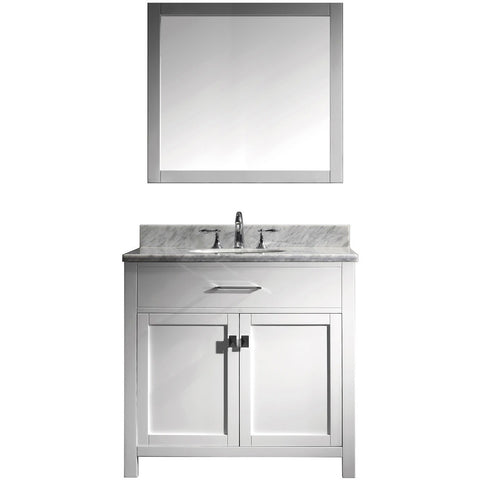 "Virtu USA Caroline 36"" White Single Bathroom Vanity Set with Marble Top - MS-2036-WM - Bath Vanity Plus"