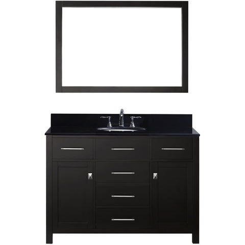 "Virtu USA Caroline 48"" Espresso Single Bathroom Vanity Set with Granite Top - MS-2048-BG - Bath Vanity Plus"