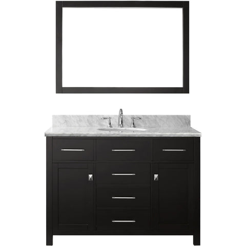 "Virtu USA Caroline 48"" Espresso Single Bathroom Vanity Set with Marble Top - MS-2048-WM - Bath Vanity Plus"
