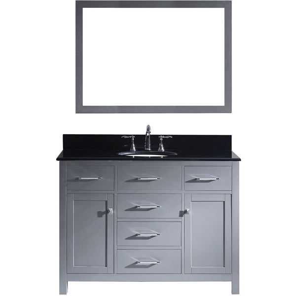 "Virtu USA Caroline 48"" Gray Single Bathroom Vanity Set with Granite Top - MS-2048-BG - Bath Vanity Plus"