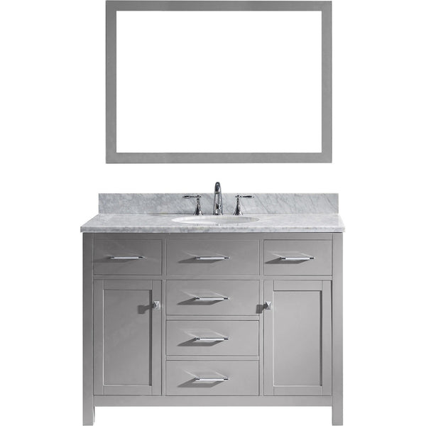 "Virtu USA Caroline 48"" Gray Single Bathroom Vanity Set with Marble Top - MS-2048-WM - Bath Vanity Plus"