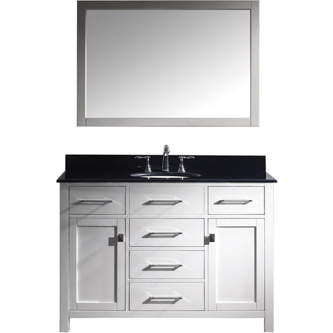 "Virtu USA Caroline 48"" White Single Bathroom Vanity Set with Granite Top - MS-2048-BG - Bath Vanity Plus"