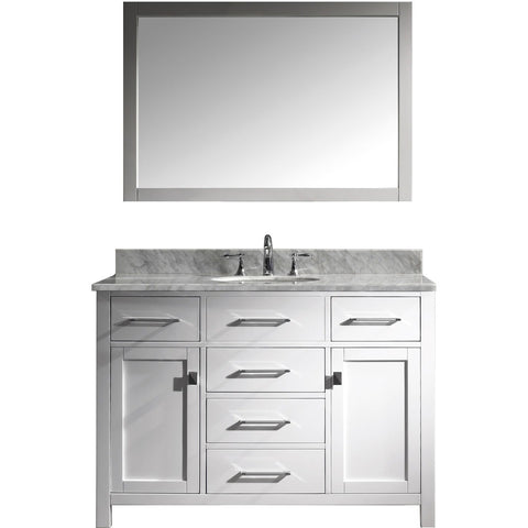 "Virtu USA Caroline 48"" White Single Bathroom Vanity Set with Marble Top - MS-2048-WM - Bath Vanity Plus"