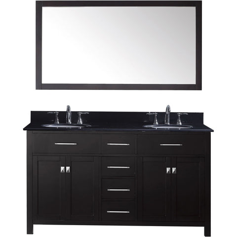"Virtu USA Caroline 60"" Espresso Double Bathroom Vanity Set with Granite Top - MD-2060-BG - Bath Vanity Plus"