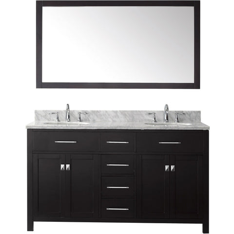 "Virtu USA Caroline 60"" Espresso Double Bathroom Vanity Set with Marble Top - MD-2060-WM - Bath Vanity Plus"