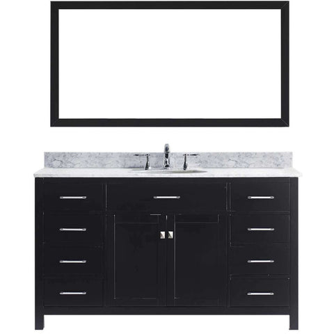 "Virtu USA Caroline 60"" Espresso Single Bathroom Vanity Set with Marble Top - MS-2060-WM - Bath Vanity Plus"
