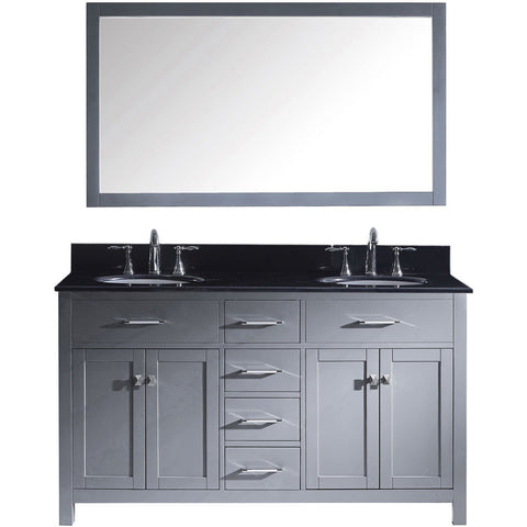 "Virtu USA Caroline 60"" Gray Double Bathroom Vanity Set with Granite Top - MD-2060-BG - Bath Vanity Plus"