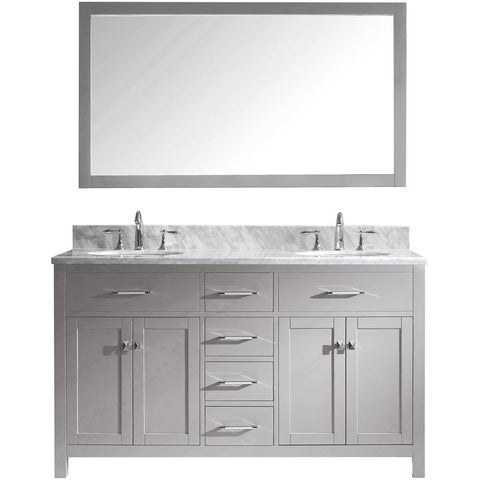 "Virtu USA Caroline 60"" Gray Double Bathroom Vanity Set with Marble Top - MD-2060-WM - Bath Vanity Plus"