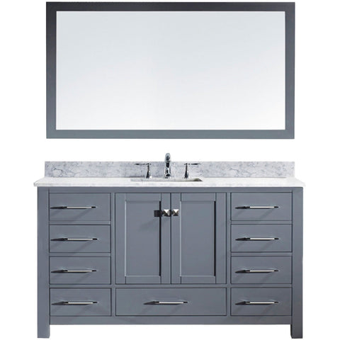 "Virtu USA Caroline 60"" Gray Single Bathroom Vanity Set with Marble Top - MS-2060-WM - Bath Vanity Plus"