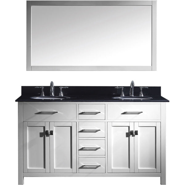 "Virtu USA Caroline 60"" White Double Bathroom Vanity Set with Granite Top - MD-2060-BG - Bath Vanity Plus"