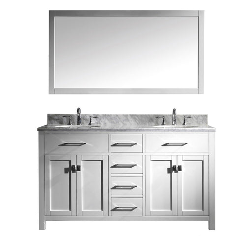"Virtu USA Caroline 60"" White Double Bathroom Vanity Set with Marble Top - MD-2060-WM - Bath Vanity Plus"