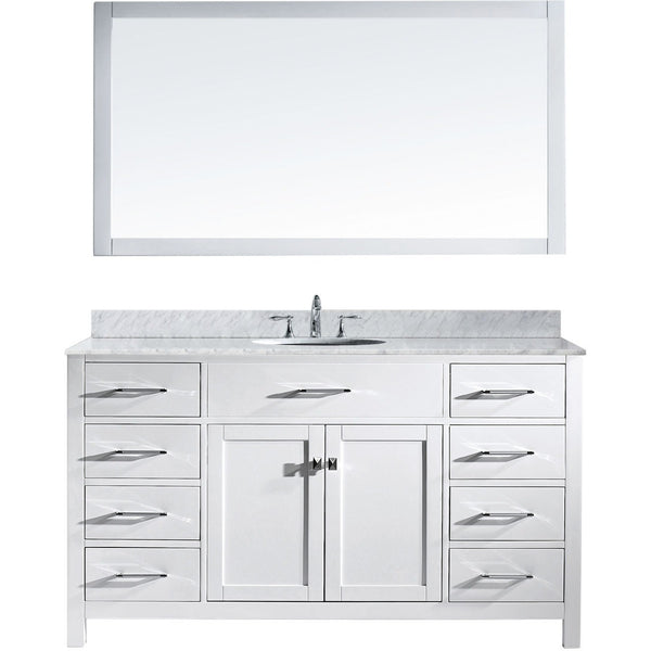 "Virtu USA Caroline 60"" White Single Bathroom Vanity Set with Marble Top - MS-2060-WM - Bath Vanity Plus"