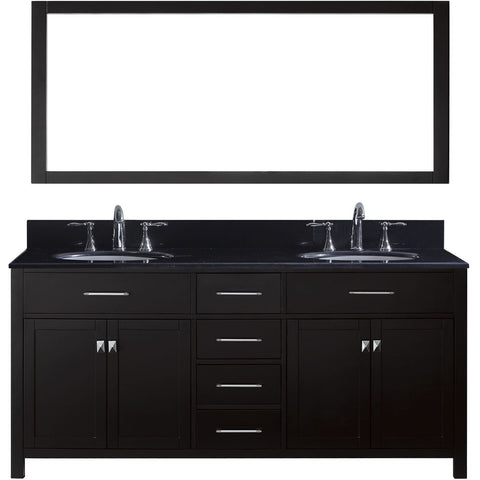 "Virtu USA Caroline 72"" Espresso Double Bathroom Vanity Set with Granite Top - MD-2072-BG - Bath Vanity Plus"