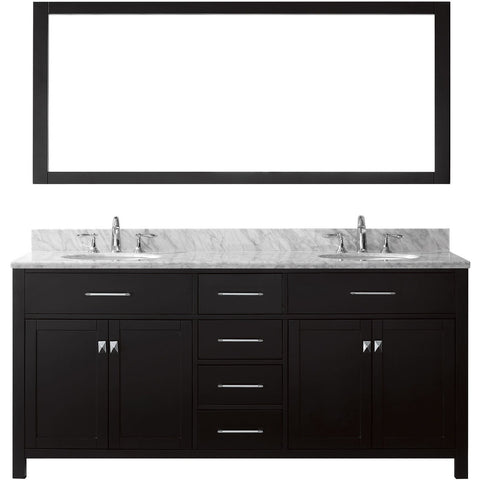 "Virtu USA Caroline 72"" Espresso Double Bathroom Vanity Set with Marble Top - MD-2072-WM - Bath Vanity Plus"