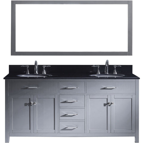 "Virtu USA Caroline 72"" Gray Double Bathroom Vanity Set with Granite Top - MD-2072-BG - Bath Vanity Plus"