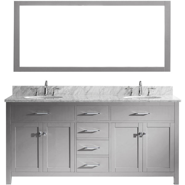 "Virtu USA Caroline 72"" Gray Double Bathroom Vanity Set with Marble Top - MD-2072-WM - Bath Vanity Plus"