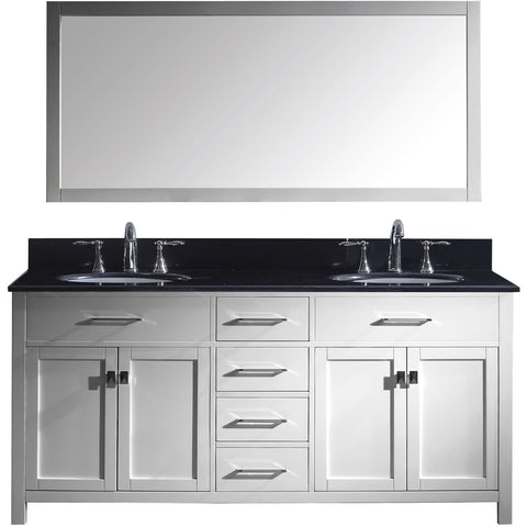 "Virtu USA Caroline 72"" White Double Bathroom Vanity Set with Granite Top - MD-2072-BG - Bath Vanity Plus"