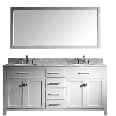 "Virtu USA Caroline 72"" White Double Bathroom Vanity Set with Marble Top - MD-2072-WM - Bath Vanity Plus"