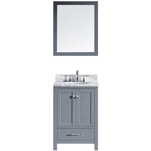 "Virtu USA Caroline Avenue 24"" Gray Single Bathroom Vanity Set with Marble Top - GS-50024-WM - Bath Vanity Plus"