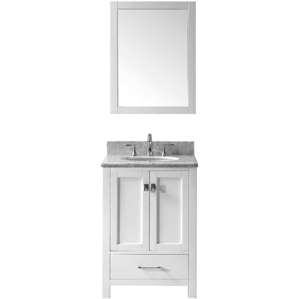 "Virtu USA Caroline Avenue 24"" White Single Bathroom Vanity Set with Marble Top - GS-50024-WM - Bath Vanity Plus"