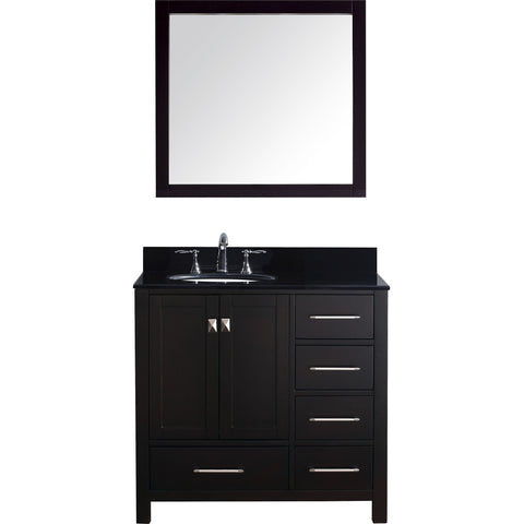 "Virtu USA Caroline Avenue 36"" Espresso Single Bathroom Vanity Set with Granite Top - GS-50036-BG - Bath Vanity Plus"