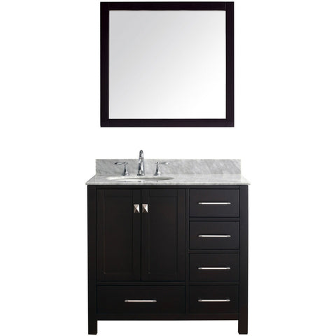 "Virtu USA Caroline Avenue 36"" Espresso Single Bathroom Vanity Set with Marble Top - GS-50036-WM - Bath Vanity Plus"