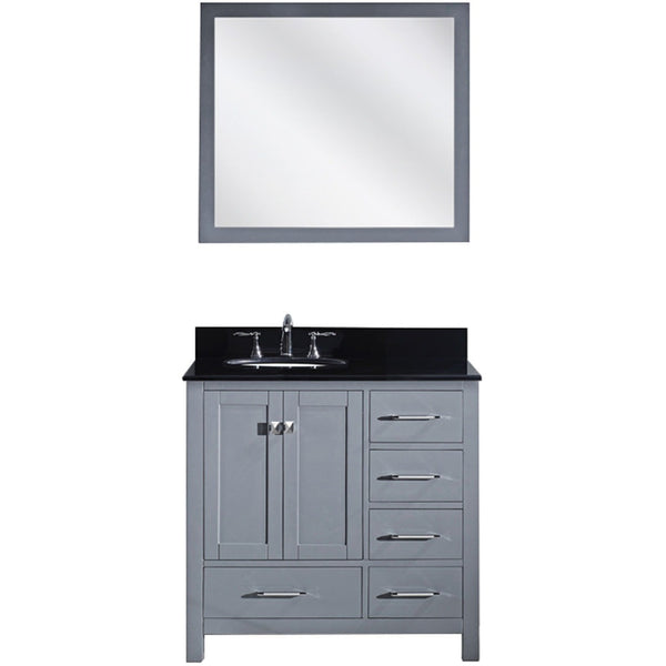"Virtu USA Caroline Avenue 36"" Gray Single Bathroom Vanity Set with Granite Top - GS-50036-BG - Bath Vanity Plus"