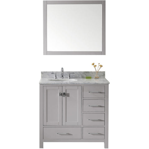 "Virtu USA Caroline Avenue 36"" Gray Single Bathroom Vanity Set with Marble Top - GS-50036-WM - Bath Vanity Plus"