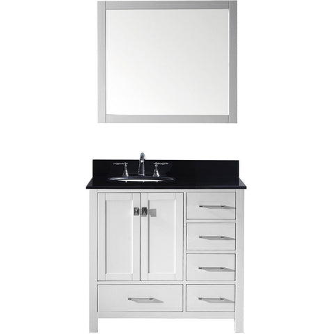 "Virtu USA Caroline Avenue 36"" White Single Bathroom Vanity Set with Granite Top - GS-50036-BG - Bath Vanity Plus"