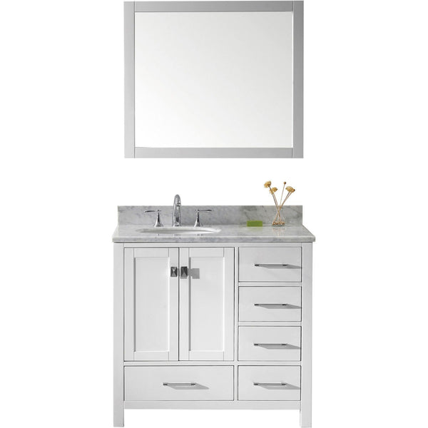 "Virtu USA Caroline Avenue 36"" White Single Bathroom Vanity Set with Marble Top - GS-50036-WM - Bath Vanity Plus"
