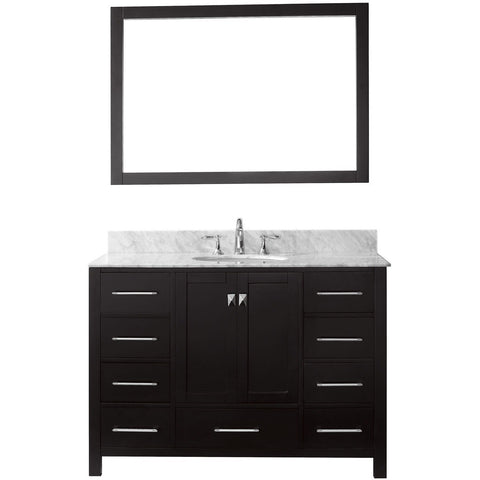 "Virtu USA Caroline Avenue 48"" Espresso Single Bathroom Vanity Set with Marble Top - GS-50048-WM - Bath Vanity Plus"