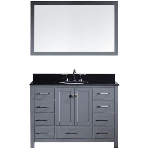 "Virtu USA Caroline Avenue 48"" Gray Single Bathroom Vanity Set with Granite Top - GS-50048-BG - Bath Vanity Plus"