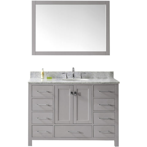 "Virtu USA Caroline Avenue 48"" Gray Single Bathroom Vanity Set with Marble Top - GS-50048-WM - Bath Vanity Plus"