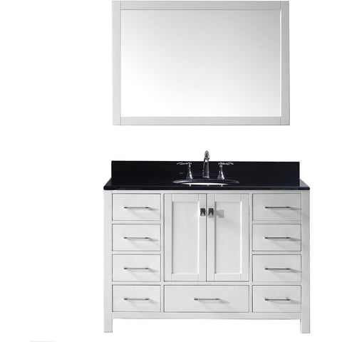"Virtu USA Caroline Avenue 48"" White Single Bathroom Vanity Set with Granite Top - GS-50048-BG - Bath Vanity Plus"
