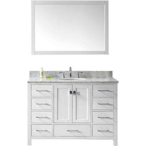 "Virtu USA Caroline Avenue 48"" White Single Bathroom Vanity Set with Marble Top - GS-50048-WM - Bath Vanity Plus"