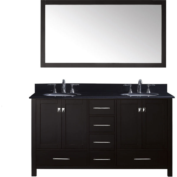 "Virtu USA Caroline Avenue 60"" Espresso Double Bathroom Vanity Set with Granite Top - GD-50060-BG - Bath Vanity Plus"