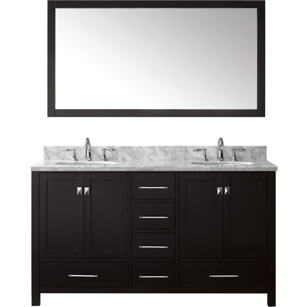 "Virtu USA Caroline Avenue 60"" Espresso Double Bathroom Vanity Set with Marble Top - GD-50060-WM - Bath Vanity Plus"