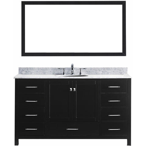 "Virtu USA Caroline Avenue 60"" Espresso Single Bathroom Vanity Set with Marble Top - GD-50060-WM - Bath Vanity Plus"