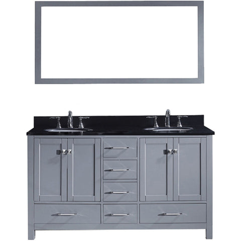 "Virtu USA Caroline Avenue 60"" Gray Double Bathroom Vanity Set with Granite Top - GD-50060-BG - Bath Vanity Plus"