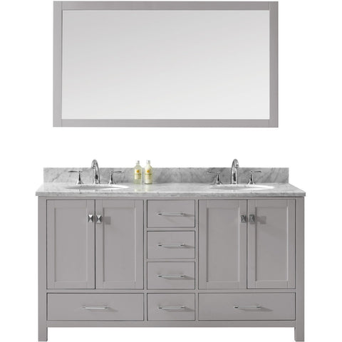 "Virtu USA Caroline Avenue 60"" Gray Double Bathroom Vanity Set with Marble Top - GD-50060-WM - Bath Vanity Plus"