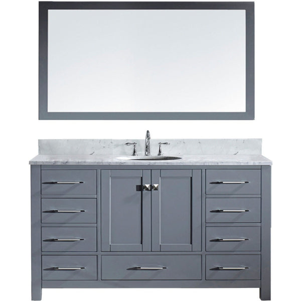 "Virtu USA Caroline Avenue 60"" Gray Single Bathroom Vanity Set with Marble Top - GD-50060-WM - Bath Vanity Plus"