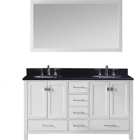 "Virtu USA Caroline Avenue 60"" White Double Bathroom Vanity Set with Granite Top - GD-50060-BG - Bath Vanity Plus"